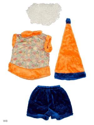 Карнавальный костюм Гномик Батик. Цвет: синий, оранжевый
