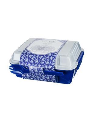 Ланчбокс 960 мл из двух контейнеров с вилкой и ложкой,  Миндальное печенье Сюзанны Orval. Цвет: синий, белый