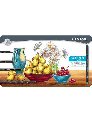 LYRA Hi-Quality Art Pen,  Набор фломастеров металл коробка 40шт. Цвет: белый, коричневый, черный