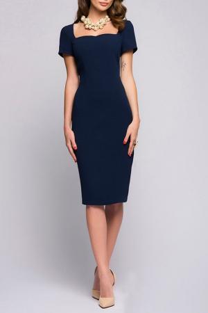 Приталенное платье с короткими рукавами ANASTASIA KOVALL. Цвет: темно-синий