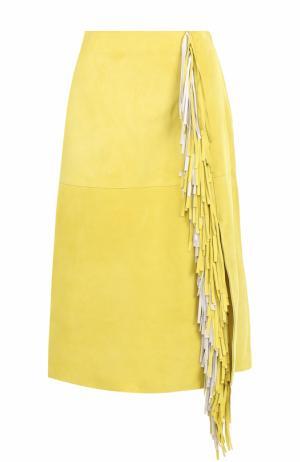 Замшевая юбка-миди с бахромой Diane Von Furstenberg. Цвет: желтый