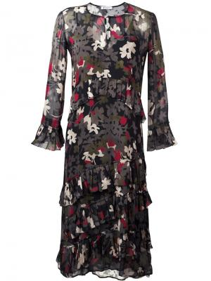 Платье с длинными рукавами и цветочным принтом Dondup. Цвет: чёрный