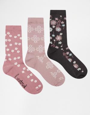 Lovestruck Комплект из 3 пар носков. Цвет: фиолетовые цветочки