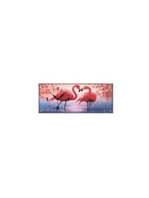 Настенные часы Фламинго PROFFI. Цвет: бледно-розовый, розовый, черный, серо-голубой, голубой, сиреневый