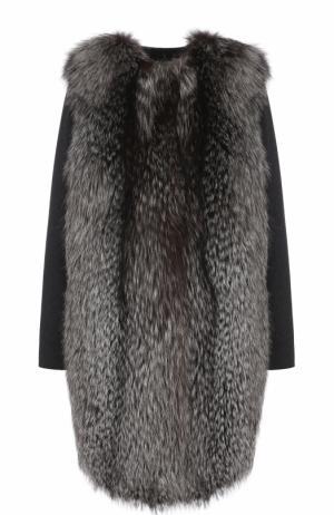 Пальто из смеси шерсти и кашемира отделкой меха лисы Yves Salomon. Цвет: серый