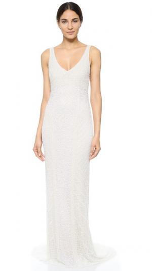 Вечернее платье Caitlin с блестками Theia. Цвет: белый