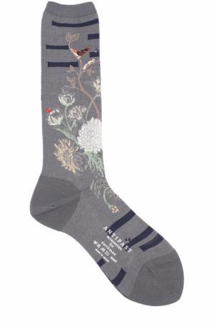 Хлопковые носки с принтом Antipast. Цвет: серый