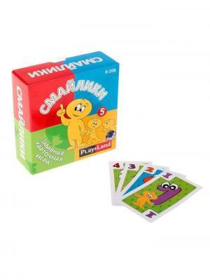 Карточная игра  Смайлики PLAY LAND. Цвет: красный, зеленый, оранжевый, синий