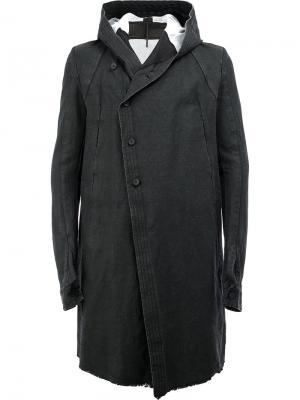 Пальто с капюшоном и смещенной застежкой Masnada. Цвет: чёрный