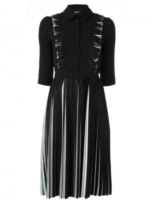 Плиссированное платье с длинными рукавами Marco Bologna. Цвет: чёрный
