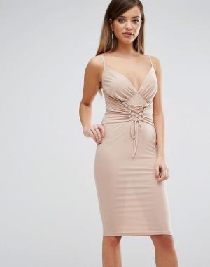 Club L Платье миди на бретельках с корсетной отделкой. Цвет: розовый