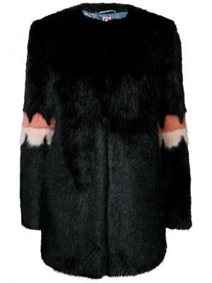 Пальто с контрастными деталями Shrimps. Цвет: чёрный