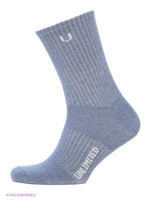 Носки спортивные 3 пары Unlimited. Цвет: синий