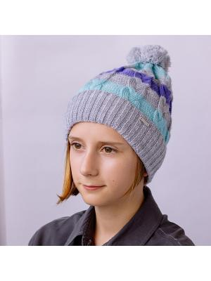 Шапка COOMPOL. Цвет: светло-голубой, светло-серый, сиреневый
