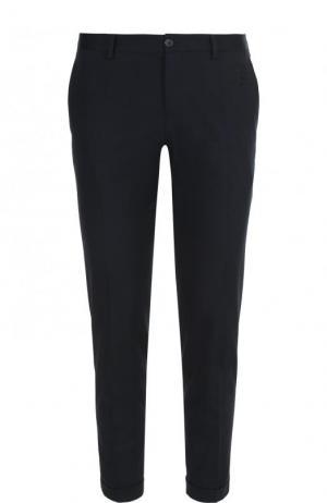 Хлопковые укороченные брюки прямого кроя Dolce & Gabbana. Цвет: синий