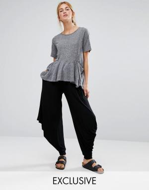 Stitch & Pieces Черные брюки в стиле casual свободного кроя. Цвет: черный