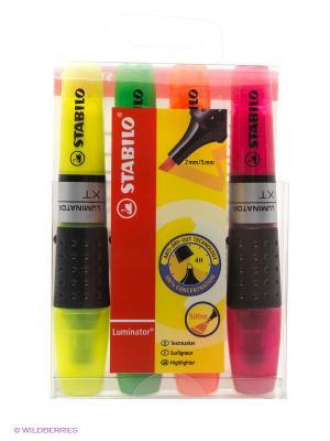 Набор маркеров, 4 шт. Stabilo. Цвет: зеленый, оранжевый, розовый, желтый
