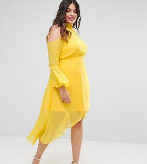 Truly You Платье миди с расклешенными рукавами. Цвет: желтый