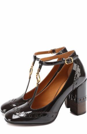 Лаковые туфли Perry T-bar с брогированием Chloé. Цвет: темно-коричневый