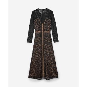 Платье длинное с принтом THE KOOPLES. Цвет: черный