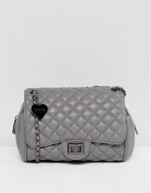 Marc B Серая стеганая сумка на плечо Knightsbridge. Цвет: серый