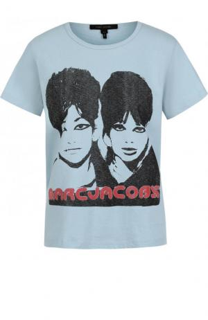 Хлопковая футболка с круглым вырезом и принтом Marc Jacobs. Цвет: светло-голубой