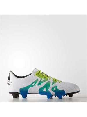 Футбольные бутсы (для тверд.п.) муж. X 15.1 FG/AG Leathe Adidas. Цвет: белый