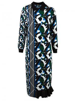Asymmetric pattern knit dress Gig. Цвет: зелёный