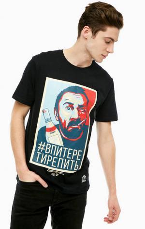 Черная хлопковая футболка с принтом TRAILHEAD. Цвет: черный