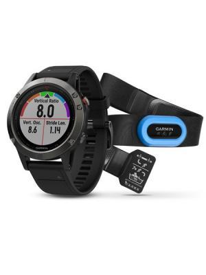 Умные часы Fenix 5 Sapphire HRM-Tri с черным ремешком GARMIN. Цвет: черный
