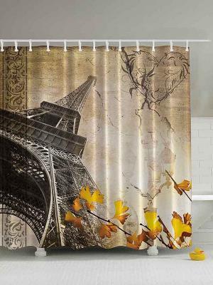 Фотоштора для ванной Приглушённые краски осени, 180*200 см Magic Lady. Цвет: бежевый, желтый, коричневый, молочный, серый, черный