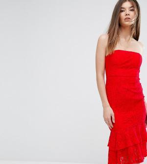 Love Triangle Платье-бандо миди с двойной оборкой. Цвет: красный