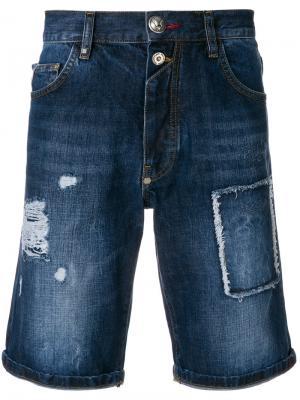 Джинсовые шорты с потертой отделкой Philipp Plein. Цвет: синий