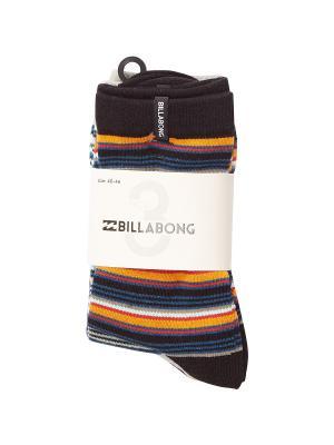 Носки STRIPE SOCK 3 PACK B (FW17) BILLABONG. Цвет: черный,синий,рыжий