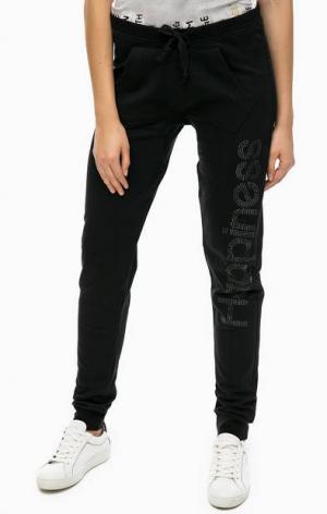 Хлопковые брюки с отделкой стразами Happiness. Цвет: черный