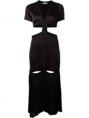 Плиссированное платье с вырезными деталями Barbara Casasola. Цвет: чёрный