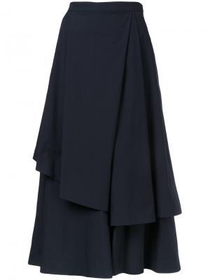 Многослойная юбка длины миди Enföld. Цвет: синий