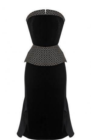 Приталенное платье-бюстье с декорированной баской Roland Mouret. Цвет: черный