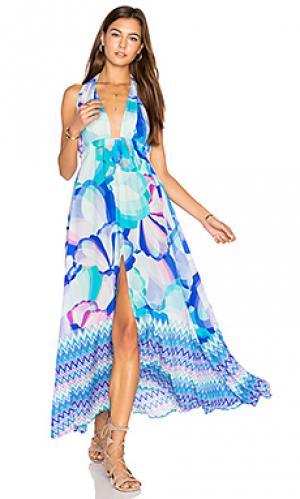 Макси платье с перекрестными шлейками спереди Caffe. Цвет: синий