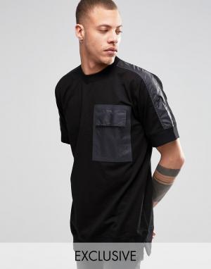 Black Eye Rags Свитшот с короткими рукавами и отделкой на кармане. Цвет: черный