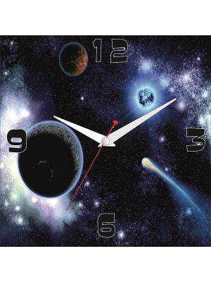 Картина стеновая с часовым механизмом 400*400мм ДСТ. Цвет: серый, красный