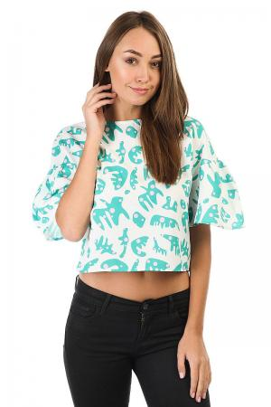 Топ женский  Button Back Ruffle Sleeve Top White Tropical Print The Pepper. Цвет: белый,зеленый
