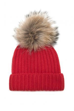 Шапка из кашемира с помпоном меха енота 156528 Fashion Cashmere. Цвет: красный