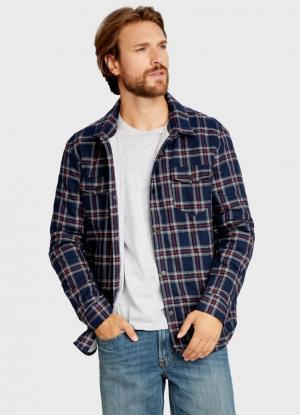 Рубашка в платочную клетку с карманами OSTIN. Цвет: черно-синий
