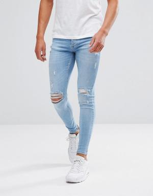 Kings Will Dream Рваные обтягивающие джинсы. Цвет: синий