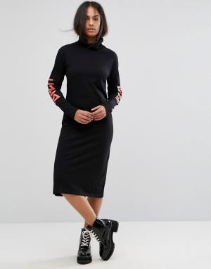Back By Ann Sofie Платье-поло миди с логотипом. Цвет: черный