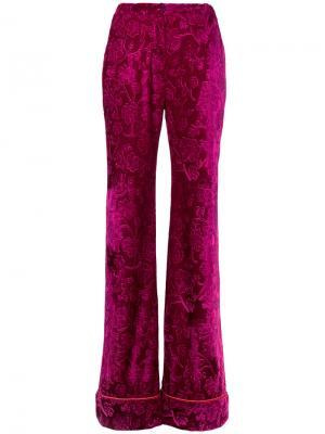 Расклешенные жаккардовые брюки N Duo. Цвет: красный