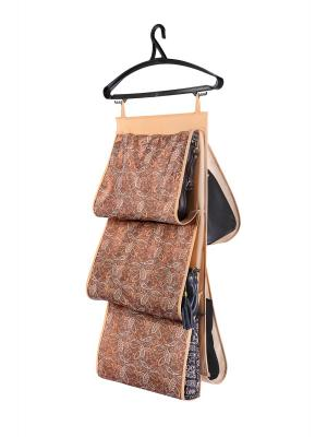 Кофр для сумок, двусторонний 5 карманов, 40х70см Русский Шик 1209 COFRET. Цвет: бежевый,коричневый