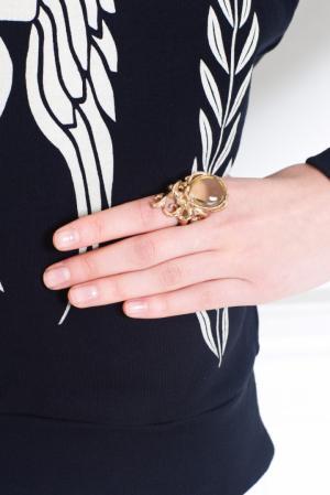 Бронзовое кольцо с празиолитом Bernard Delettrez. Цвет: золотой, нежно-желтый, чайный
