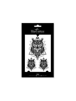 Переводные тату Owl Miami Tattoos. Цвет: черный